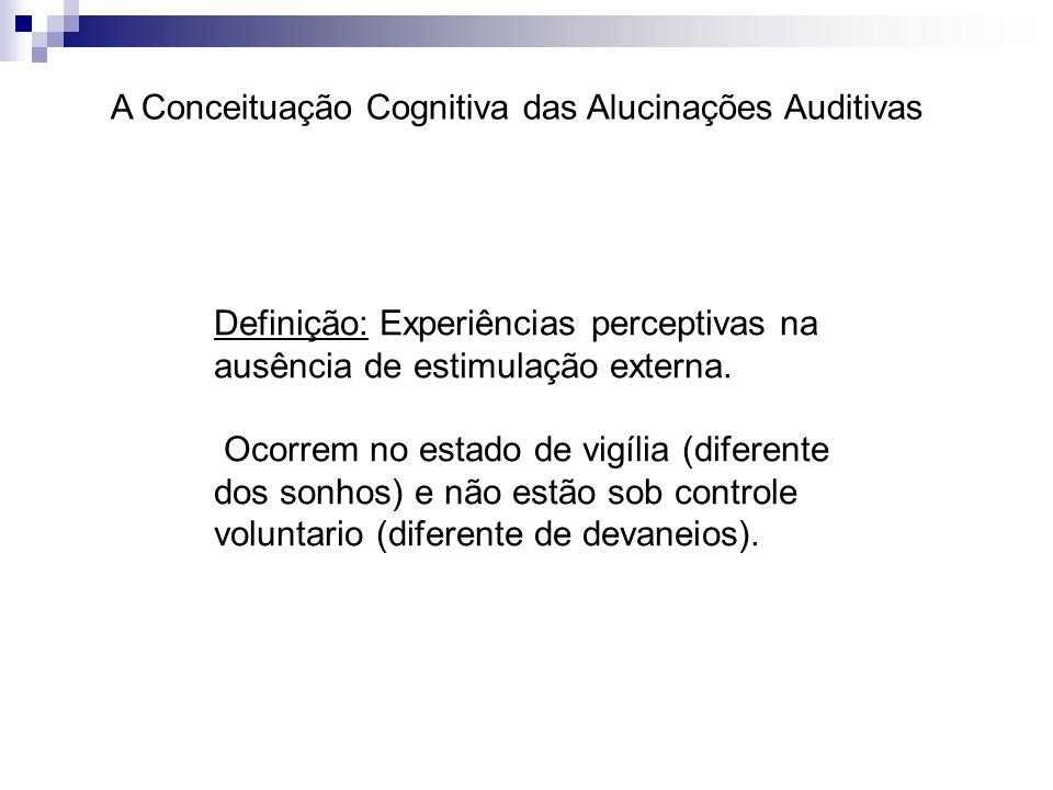 A Conceituação Cognitiva das Alucinações Auditivas Definição: Experiências perceptivas na ausência de estimulação externa. Ocorrem no estado de vigíli