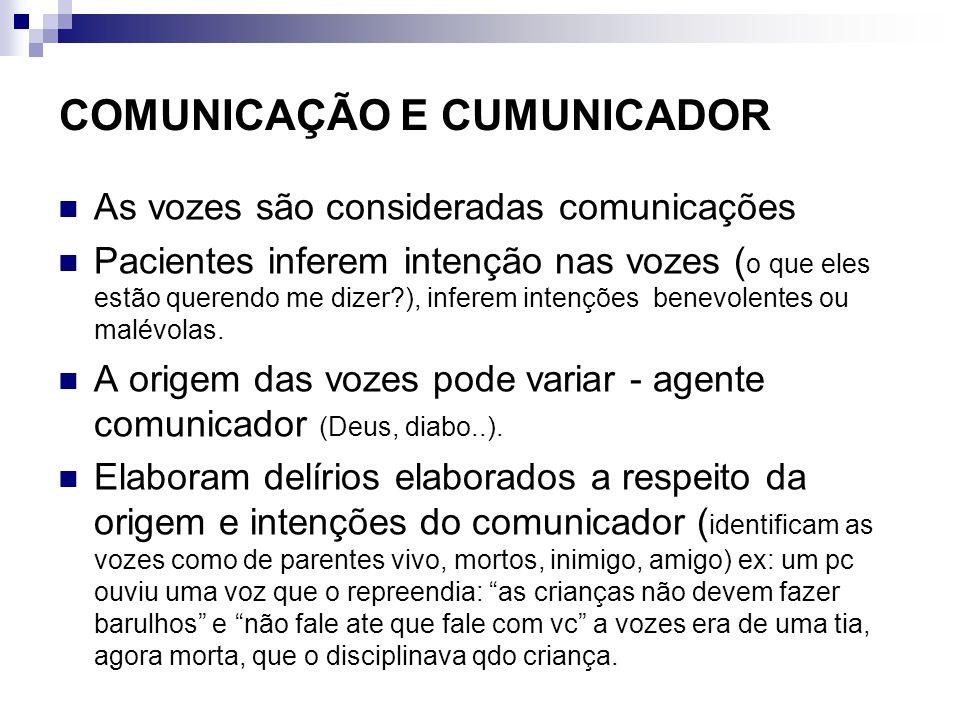 COMUNICAÇÃO E CUMUNICADOR As vozes são consideradas comunicações Pacientes inferem intenção nas vozes ( o que eles estão querendo me dizer?), inferem intenções benevolentes ou malévolas.