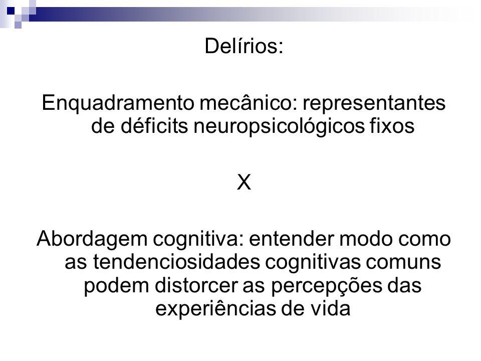 Delírios: Enquadramento mecânico: representantes de déficits neuropsicológicos fixos X Abordagem cognitiva: entender modo como as tendenciosidades cognitivas comuns podem distorcer as percepções das experiências de vida