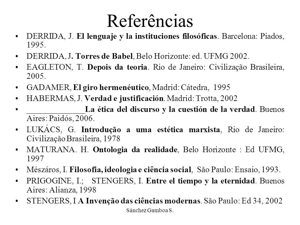 Sánchez Gamboa S.Referências DERRIDA, J. El lenguaje y la instituciones filosóficas.