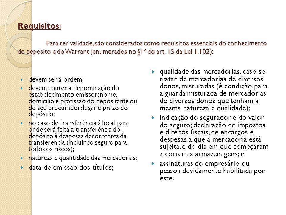 Requisitos: Para ter validade, são considerados como requisitos essenciais do conhecimento de depósito e do Warrant (enumerados no §1º do art. 15 da L