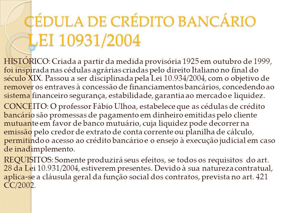 CÉDULA DE CRÉDITO BANCÁRIO LEI 10931/2004 HISTÓRICO: Criada a partir da medida provisória 1925 em outubro de 1999, foi inspirada nas cédulas agrárias