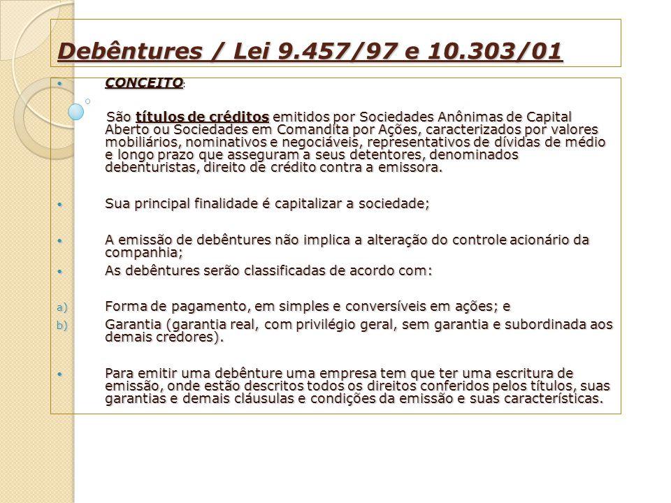 Debêntures / Lei 9.457/97 e 10.303/01 CONCEITO CONCEITO : São títulos de créditos emitidos por Sociedades Anônimas de Capital Aberto ou Sociedades em