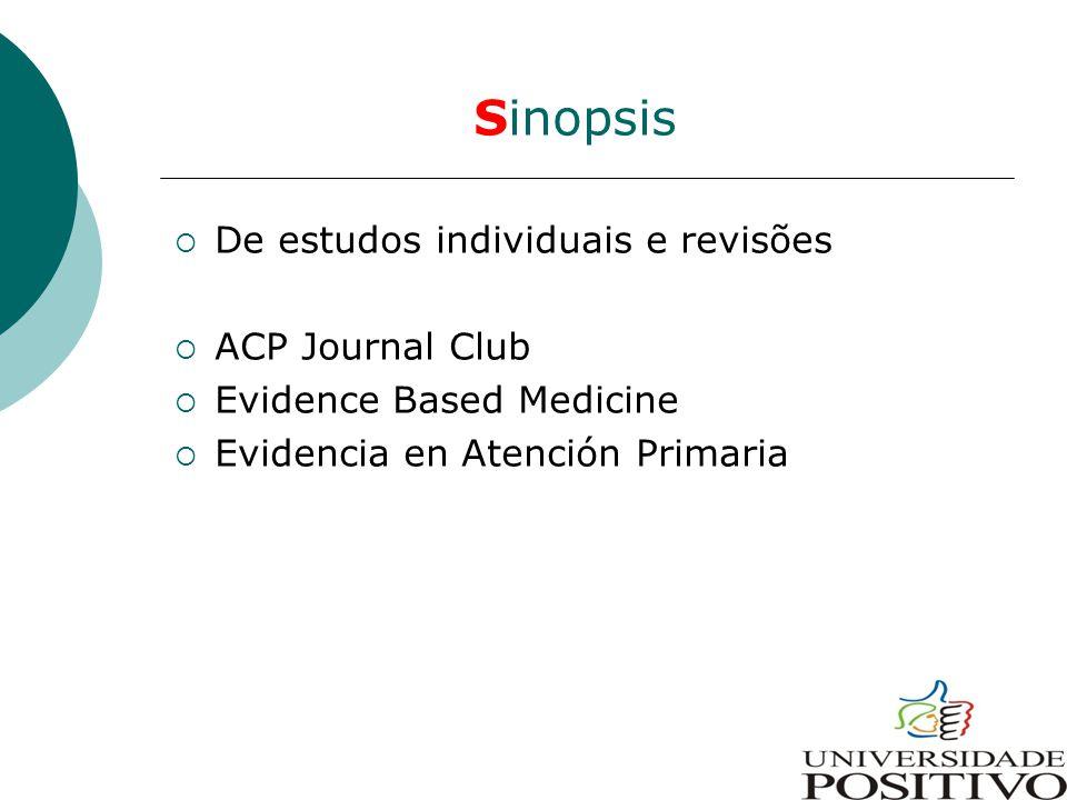 Sinopsis  De estudos individuais e revisões  ACP Journal Club  Evidence Based Medicine  Evidencia en Atención Primaria