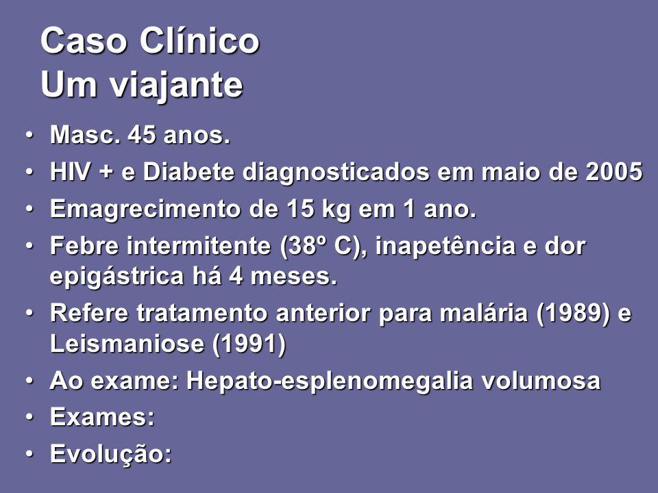 Caso Clínico Um viajante Masc. 45 anos.Masc. 45 anos. HIV + e Diabete diagnosticados em maio de 2005HIV + e Diabete diagnosticados em maio de 2005 Ema