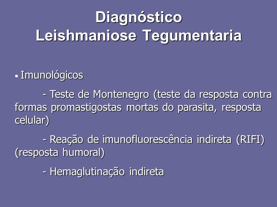 Imunológicos - Teste de Montenegro (teste da resposta contra formas promastigostas mortas do parasita, resposta celular) - Reação de imunofluorescênci
