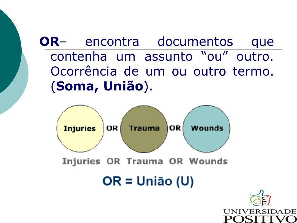 """OR– encontra documentos que contenha um assunto """"ou"""" outro. Ocorrência de um ou outro termo. (Soma, União)."""