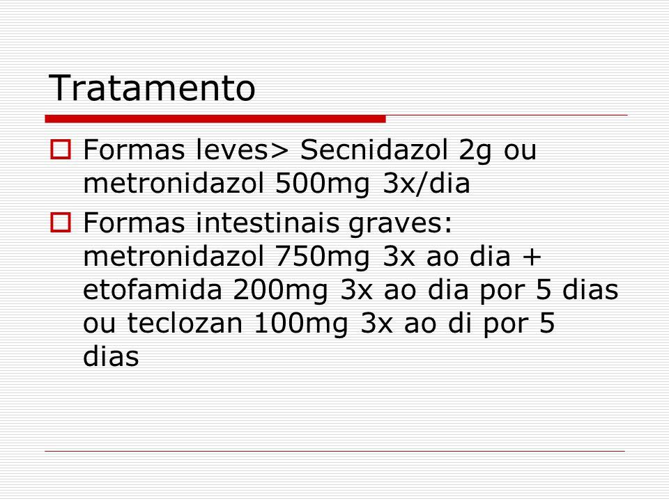 Tratamento  Formas leves> Secnidazol 2g ou metronidazol 500mg 3x/dia  Formas intestinais graves: metronidazol 750mg 3x ao dia + etofamida 200mg 3x ao dia por 5 dias ou teclozan 100mg 3x ao di por 5 dias