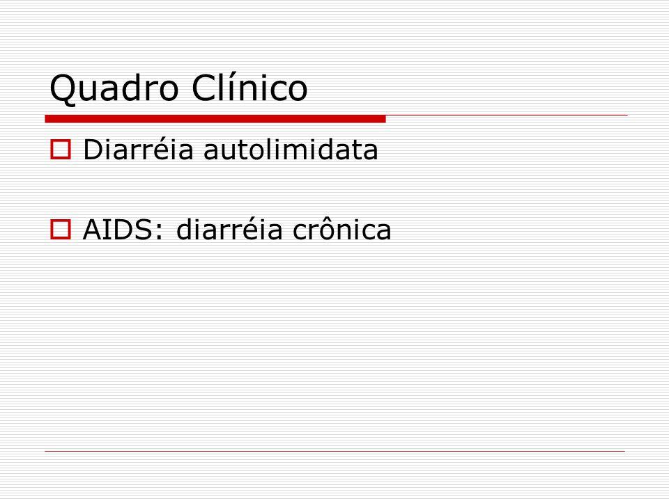 Quadro Clínico  Diarréia autolimidata  AIDS: diarréia crônica