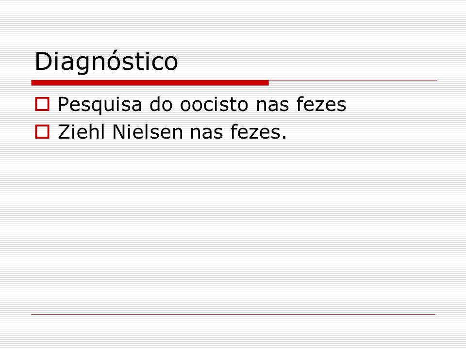 Diagnóstico  Pesquisa do oocisto nas fezes  Ziehl Nielsen nas fezes.
