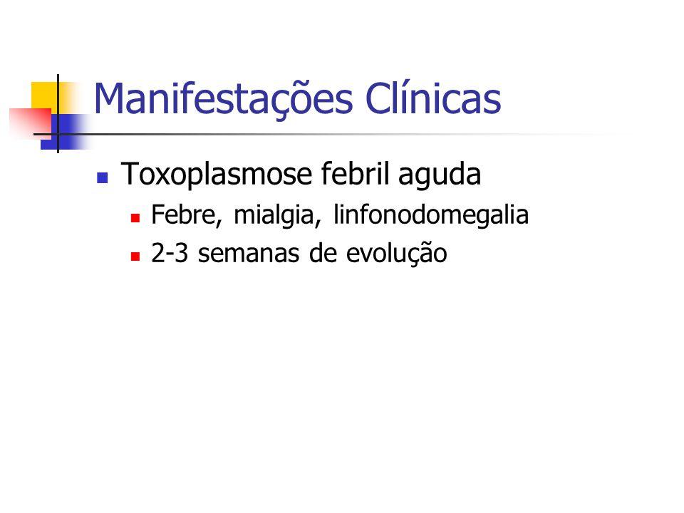 Manifestações Clínicas Toxoplasmose febril aguda Febre, mialgia, linfonodomegalia 2-3 semanas de evolução