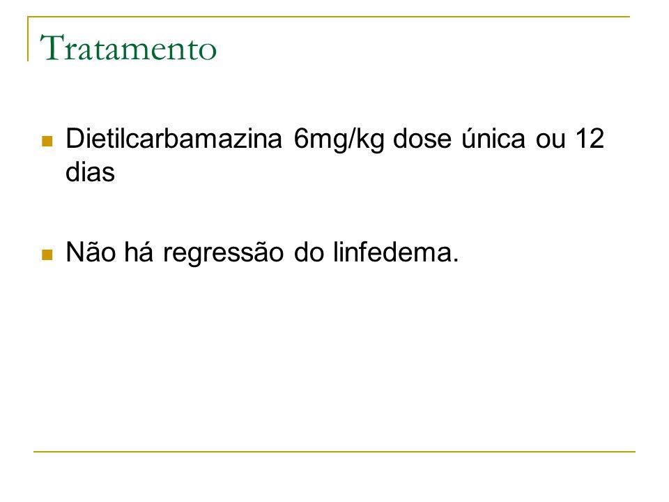 Tratamento Dietilcarbamazina 6mg/kg dose única ou 12 dias Não há regressão do linfedema.
