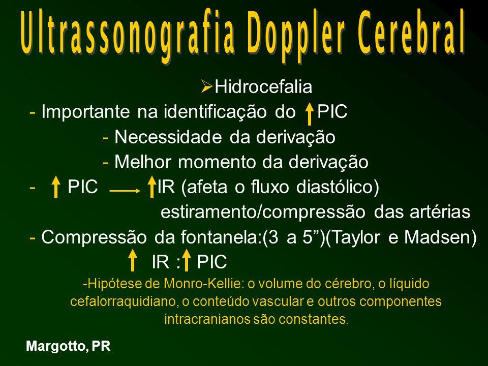  Hidrocefalia - Importante na identificação do PIC - Necessidade da derivação - Melhor momento da derivação - PIC IR (afeta o fluxo diastólico) estiramento/compressão das artérias - Compressão da fontanela:(3 a 5 )(Taylor e Madsen) IR : PIC -Hipótese de Monro-Kellie: o volume do cérebro, o líquido cefalorraquidiano, o conteúdo vascular e outros componentes intracranianos são constantes.