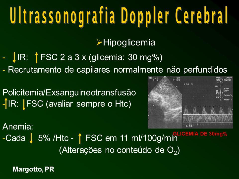  Hipoglicemia - IR: FSC 2 a 3 x (glicemia: 30 mg%) - Recrutamento de capilares normalmente não perfundidos Policitemia/Exsanguineotransfusão - IR: FSC (avaliar sempre o Htc) Anemia: -Cada 5% /Htc - FSC em 11 ml/100g/min (Alterações no conteúdo de O 2 ) Margotto, PR GLICEMIA DE 30mg%