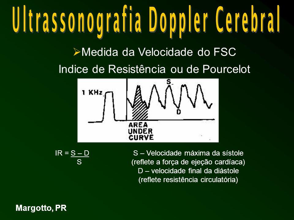  Medida da Velocidade do FSC Indice de Resistência ou de Pourcelot Margotto, PR IR = S – D S S – Velocidade máxima da sístole (reflete a força de ejeção cardíaca) D – velocidade final da diástole (reflete resistência circulatória)
