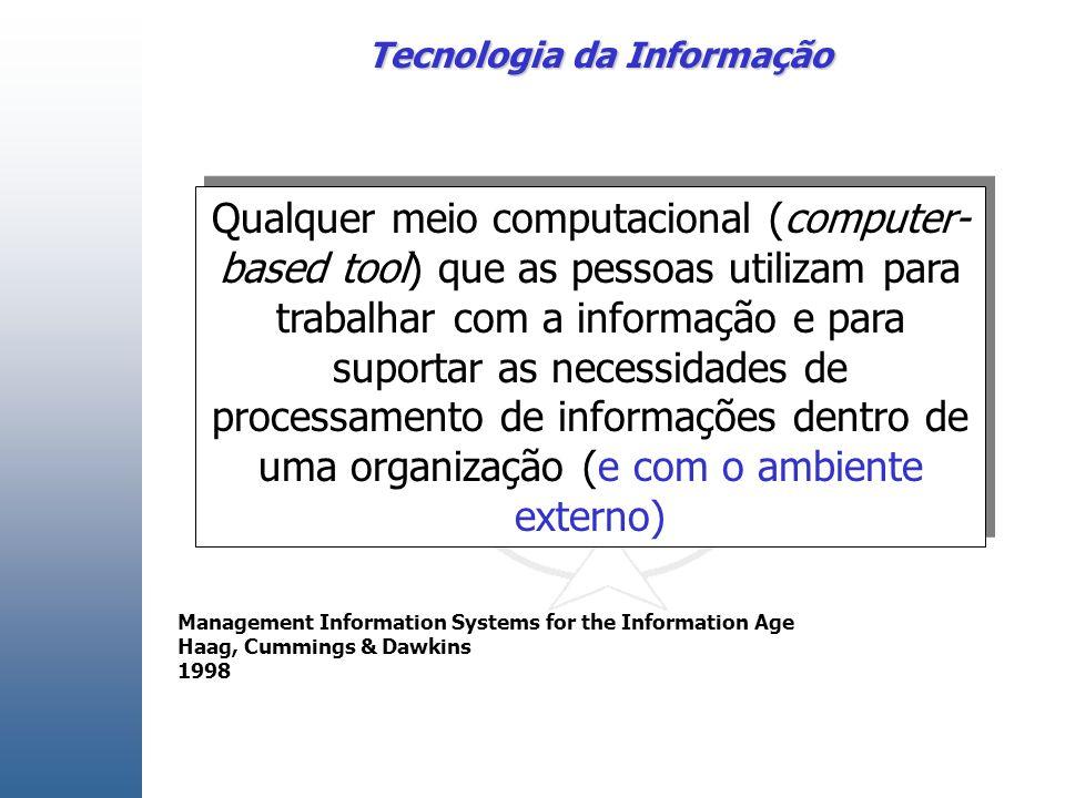 Tecnologia da Informação Qualquer meio computacional (computer- based tool) que as pessoas utilizam para trabalhar com a informação e para suportar as necessidades de processamento de informações dentro de uma organização (e com o ambiente externo) Management Information Systems for the Information Age Haag, Cummings & Dawkins 1998