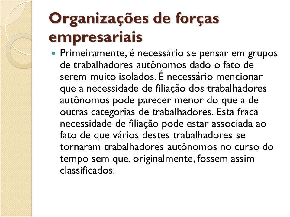 Organizações de forças empresariais Primeiramente, é necessário se pensar em grupos de trabalhadores autônomos dado o fato de serem muito isolados. É