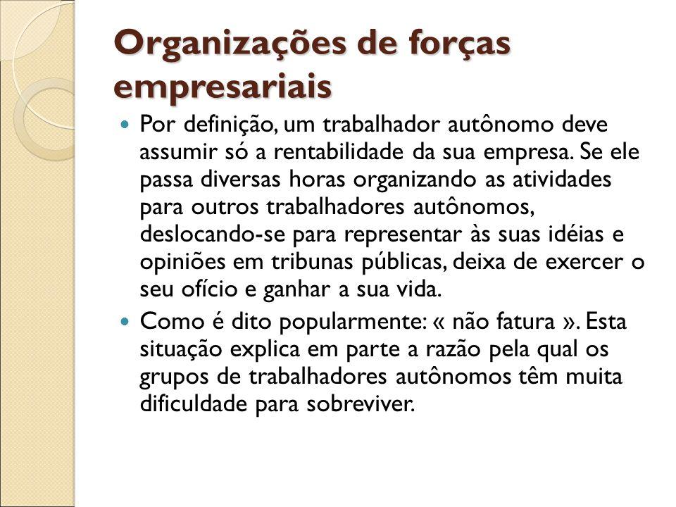 Organizações de forças empresariais Por definição, um trabalhador autônomo deve assumir só a rentabilidade da sua empresa. Se ele passa diversas horas