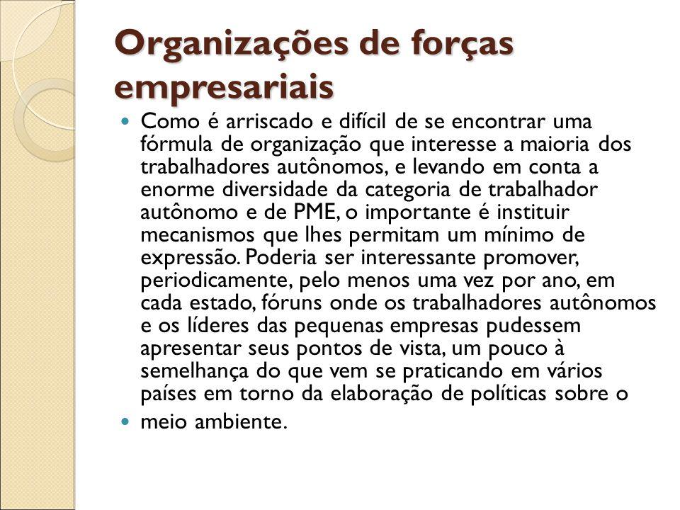 Organizações de forças empresariais Como é arriscado e difícil de se encontrar uma fórmula de organização que interesse a maioria dos trabalhadores au