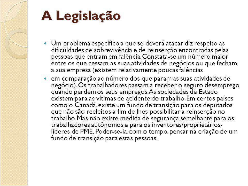 A Legislação Um problema específico a que se deverá atacar diz respeito as dificuldades de sobrevivência e de reinserção encontradas pelas pessoas que