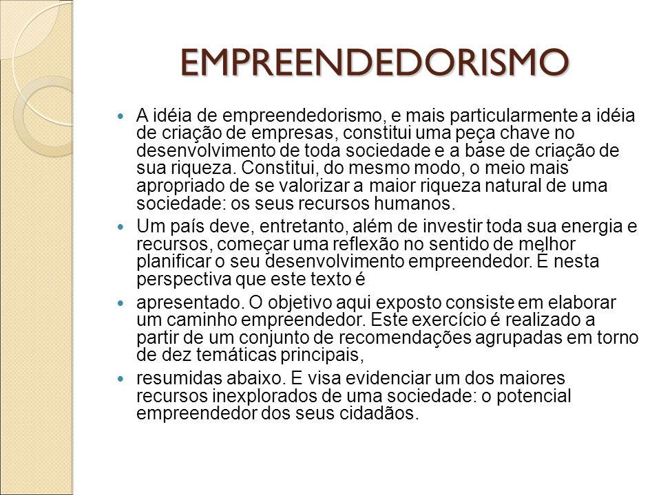 EMPREENDEDORISMO A idéia de empreendedorismo, e mais particularmente a idéia de criação de empresas, constitui uma peça chave no desenvolvimento de to