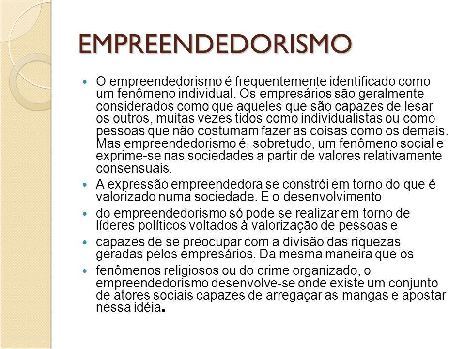 EMPREENDEDORISMO O empreendedorismo é frequentemente identificado como um fenômeno individual. Os empresários são geralmente considerados como que aqu