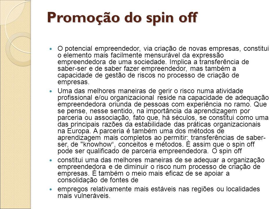 Promoção do spin off O potencial empreendedor, via criação de novas empresas, constitui o elemento mais facilmente mensurável da expressão empreendedo