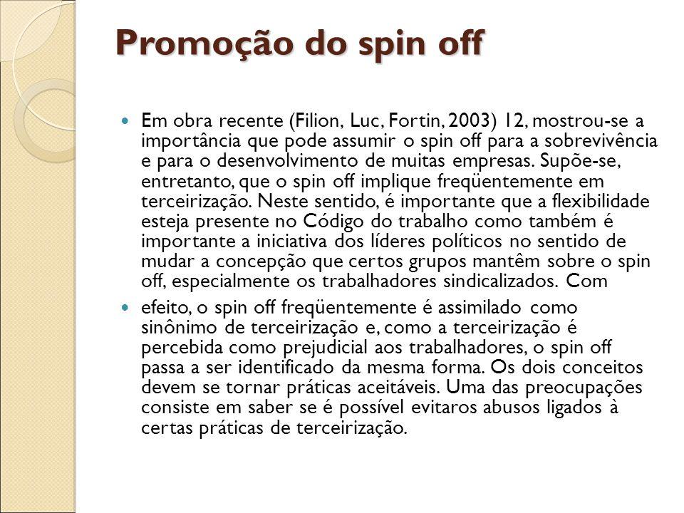 Promoção do spin off Em obra recente (Filion, Luc, Fortin, 2003) 12, mostrou-se a importância que pode assumir o spin off para a sobrevivência e para