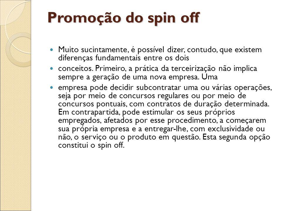 Promoção do spin off Muito sucintamente, é possível dizer, contudo, que existem diferenças fundamentais entre os dois conceitos. Primeiro, a prática d