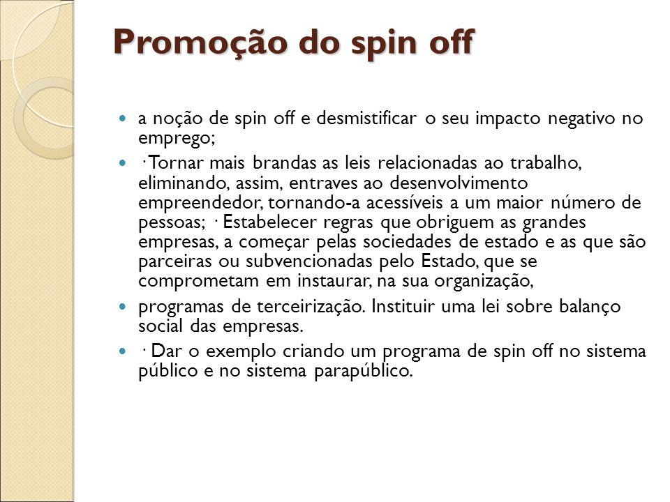 Promoção do spin off a noção de spin off e desmistificar o seu impacto negativo no emprego; · Tornar mais brandas as leis relacionadas ao trabalho, el