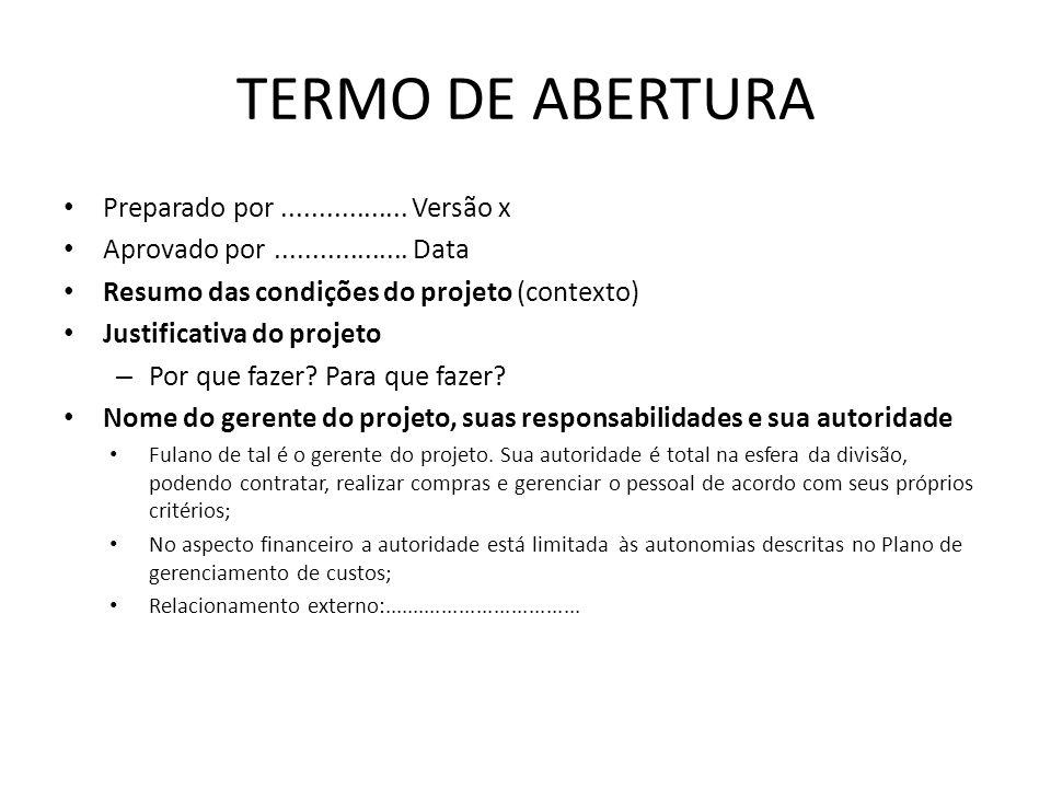 TERMO DE ABERTURA Preparado por................. Versão x Aprovado por.................. Data Resumo das condições do projeto (contexto) Justificativa
