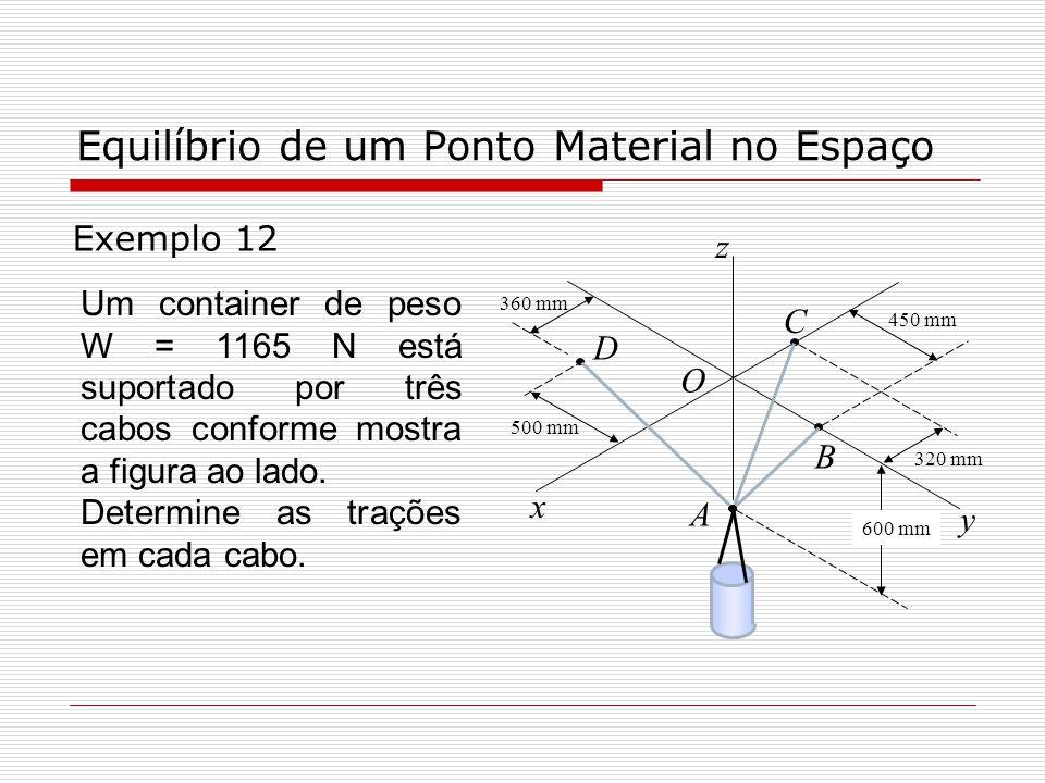Equilíbrio de um Ponto Material no Espaço Exemplo 12 600 mm 320 mm 450 mm 360 mm 500 mm D O C B A y z x Um container de peso W = 1165 N está suportado