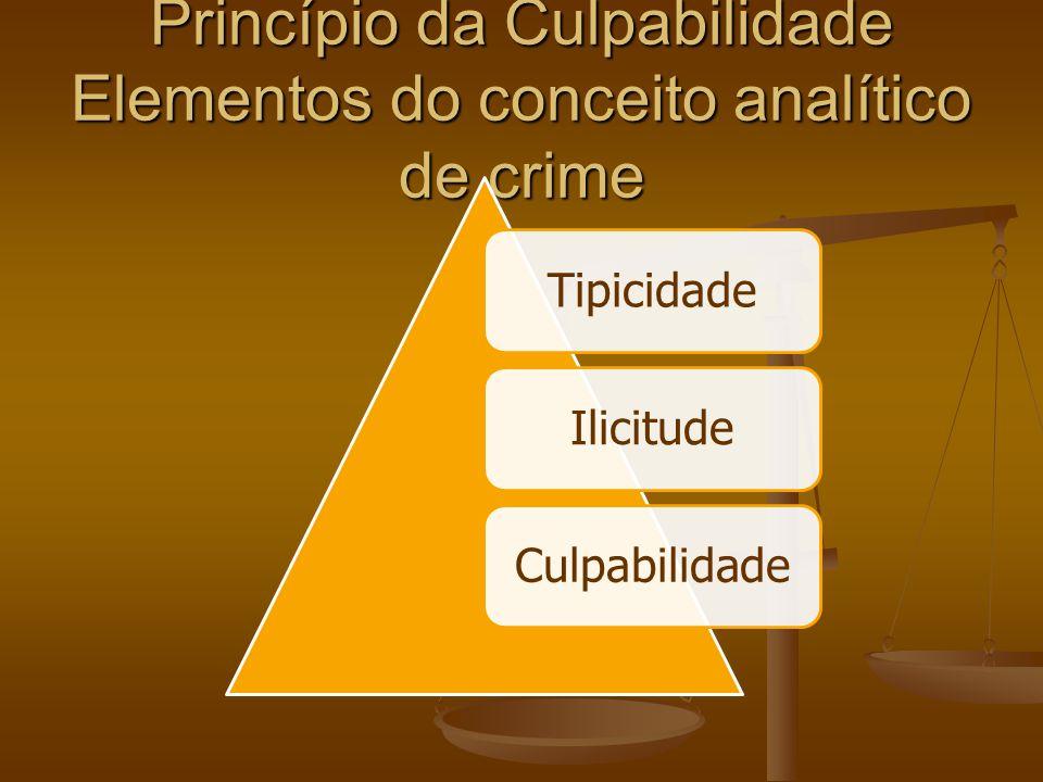Princípio da Culpabilidade Elementos do conceito analítico de crime TipicidadeIlicitudeCulpabilidade