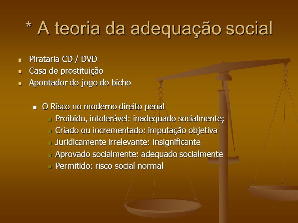 * A teoria da adequação social Pirataria CD / DVD Pirataria CD / DVD Casa de prostituição Casa de prostituição Apontador do jogo do bicho Apontador do