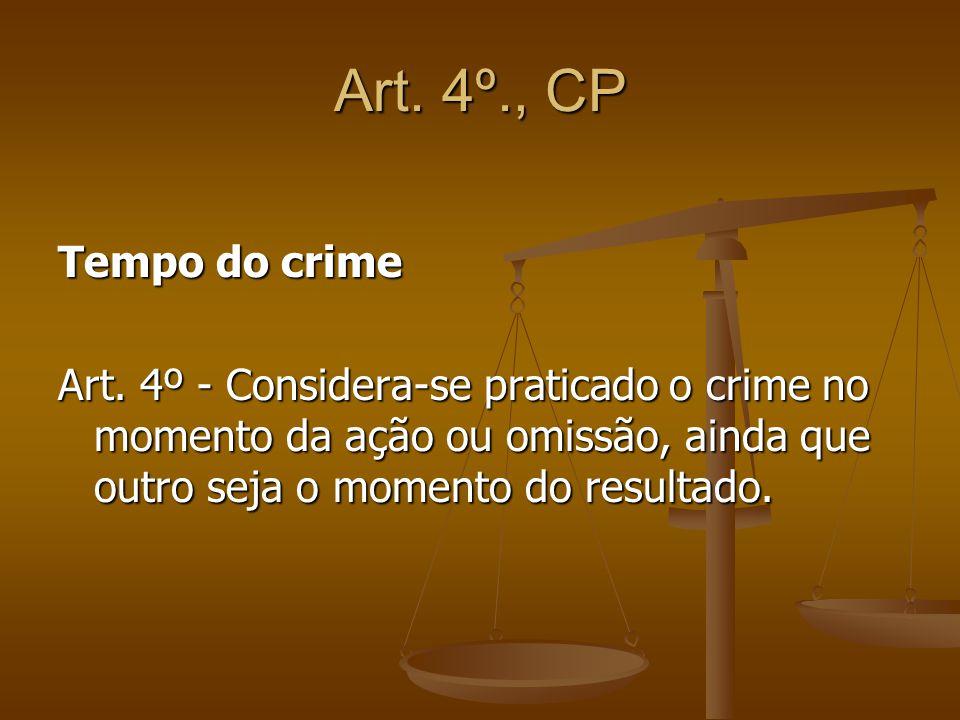 Art. 4º., CP Tempo do crime Art. 4º - Considera-se praticado o crime no momento da ação ou omissão, ainda que outro seja o momento do resultado.