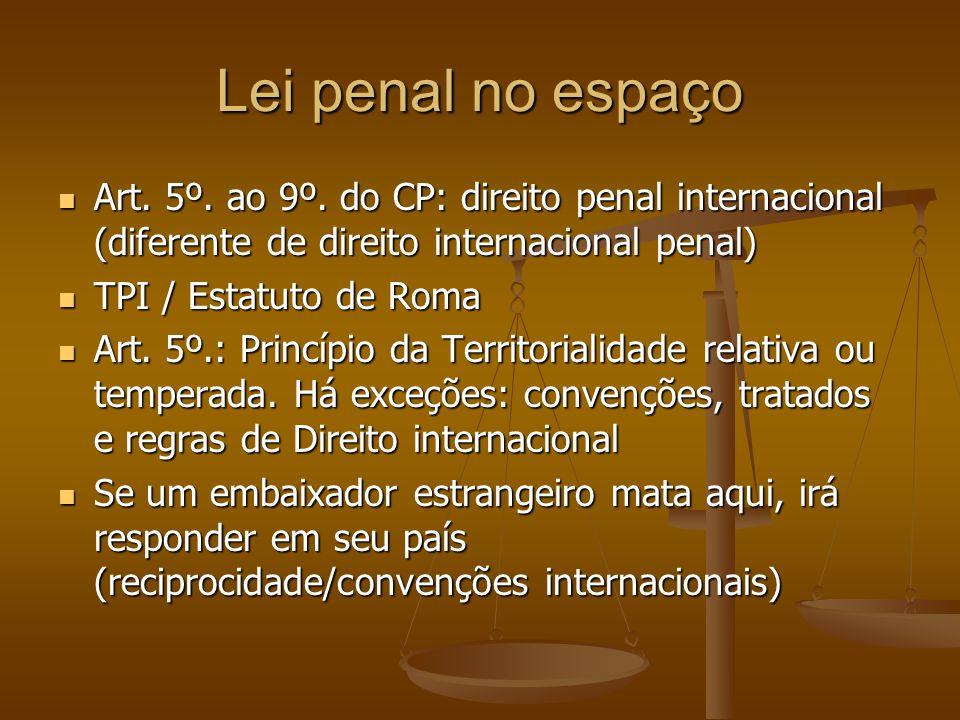 Lei penal no espaço Art. 5º. ao 9º. do CP: direito penal internacional (diferente de direito internacional penal) Art. 5º. ao 9º. do CP: direito penal