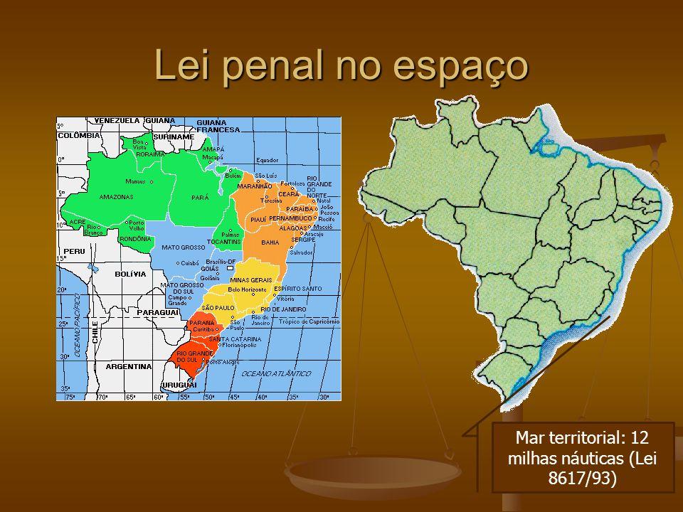 Lei penal no espaço Mar territorial: 12 milhas náuticas (Lei 8617/93)