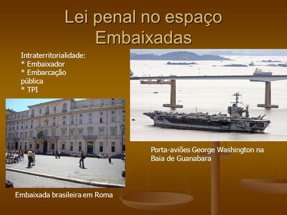 Lei penal no espaço Embaixadas Intraterritorialidade: * Embaixador * Embarcação pública * TPI Porta-aviões George Washington na Baia de Guanabara Emba