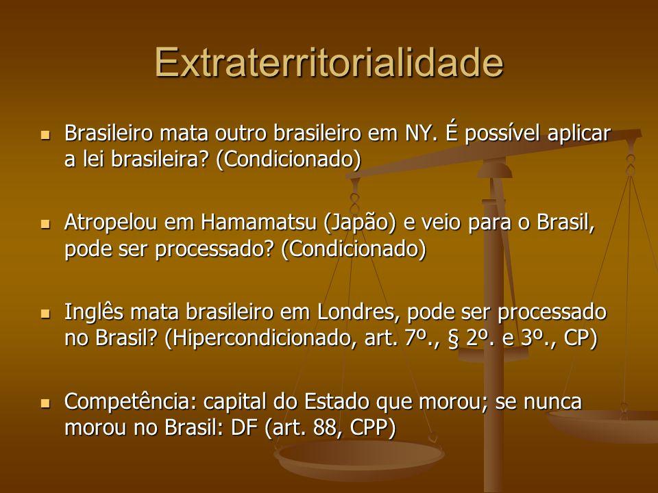 Extraterritorialidade Brasileiro mata outro brasileiro em NY. É possível aplicar a lei brasileira? (Condicionado) Brasileiro mata outro brasileiro em