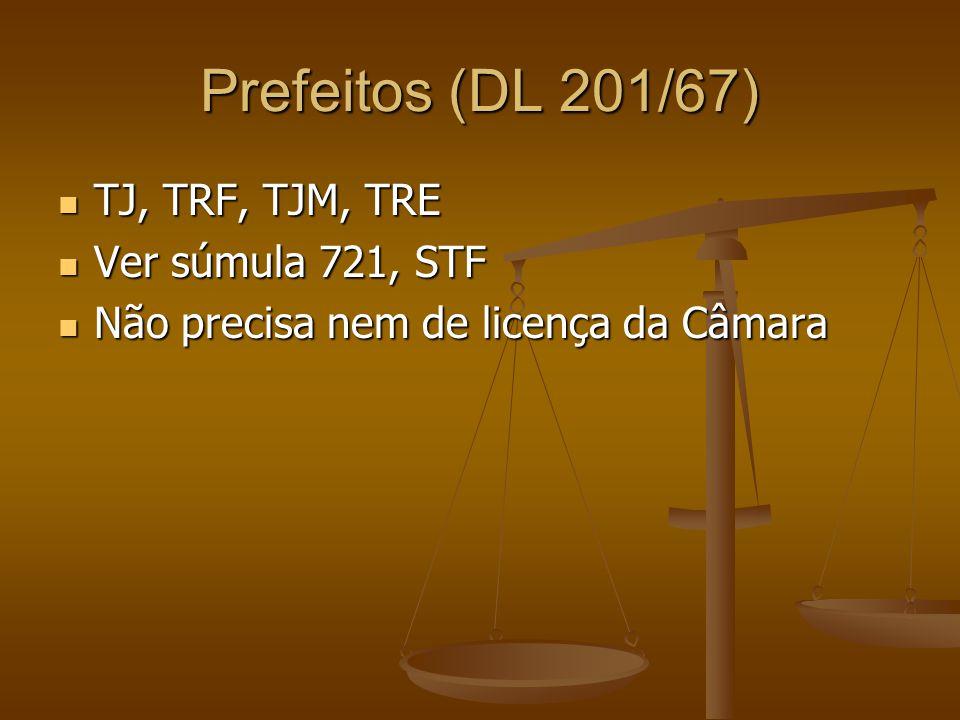 Prefeitos (DL 201/67) TJ, TRF, TJM, TRE TJ, TRF, TJM, TRE Ver súmula 721, STF Ver súmula 721, STF Não precisa nem de licença da Câmara Não precisa nem