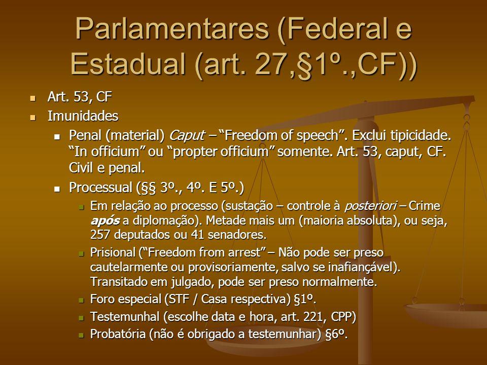 "Parlamentares (Federal e Estadual (art. 27,§1º.,CF)) Art. 53, CF Art. 53, CF Imunidades Imunidades Penal (material) Caput – ""Freedom of speech"". Exclu"