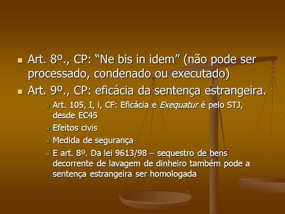 """Art. 8º., CP: """"Ne bis in idem"""" (não pode ser processado, condenado ou executado) Art. 8º., CP: """"Ne bis in idem"""" (não pode ser processado, condenado ou"""