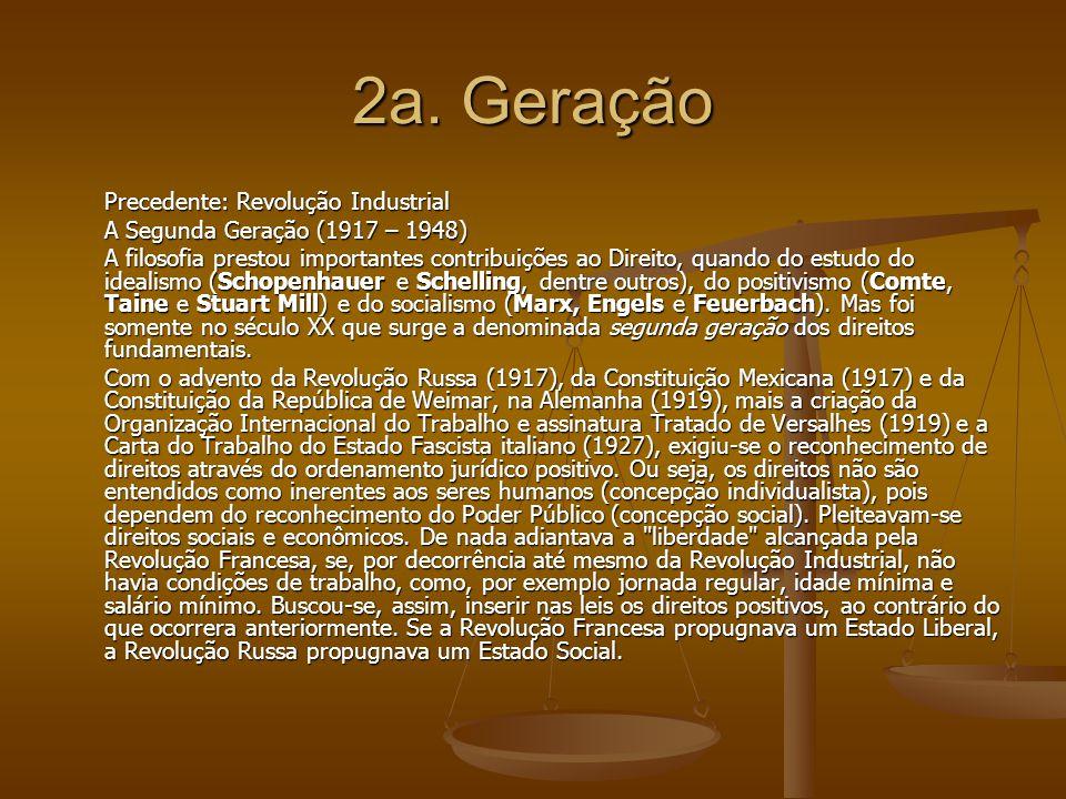 2a. Geração Precedente: Revolução Industrial A Segunda Geração (1917 – 1948) A filosofia prestou importantes contribuições ao Direito, quando do estud