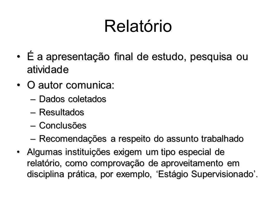 Forma Geral - Elementos Pré-Textuais Resumo (em língua vernácula)Resumo (em língua vernácula) –Item obrigatório.