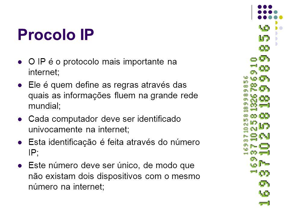 Procolo IP O IP é o protocolo mais importante na internet; Ele é quem define as regras através das quais as informações fluem na grande rede mundial; Cada computador deve ser identificado univocamente na internet; Esta identificação é feita através do número IP; Este número deve ser único, de modo que não existam dois dispositivos com o mesmo número na internet;