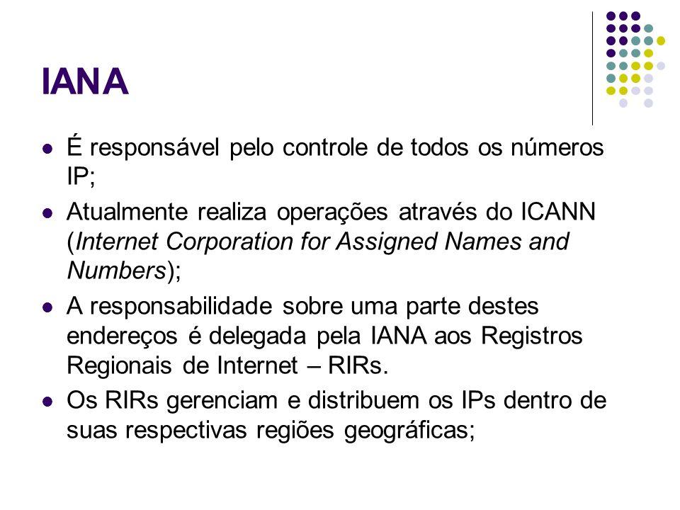 IANA É responsável pelo controle de todos os números IP; Atualmente realiza operações através do ICANN (Internet Corporation for Assigned Names and Numbers); A responsabilidade sobre uma parte destes endereços é delegada pela IANA aos Registros Regionais de Internet – RIRs.