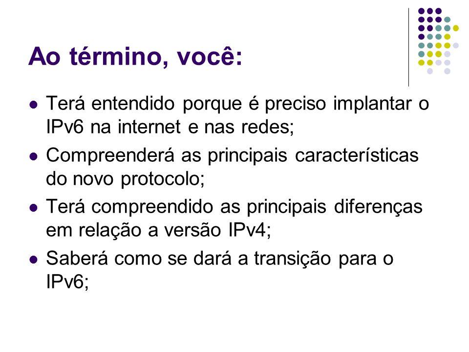 Soluções para o esgotamento de IPs Iniciou-se em 1993, o projeto de um novo protocolo de internet, chamado IPng (Internet Protocol new generation); O IPng é o IPv6 hoje; Algumas soluções paliativas foram desenvolvidas para diminuir a demanda por IPs;