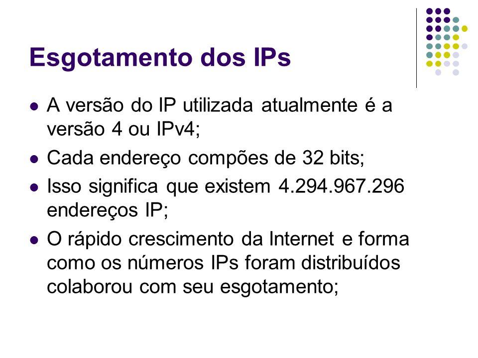 Esgotamento dos IPs A versão do IP utilizada atualmente é a versão 4 ou IPv4; Cada endereço compões de 32 bits; Isso significa que existem 4.294.967.296 endereços IP; O rápido crescimento da Internet e forma como os números IPs foram distribuídos colaborou com seu esgotamento;