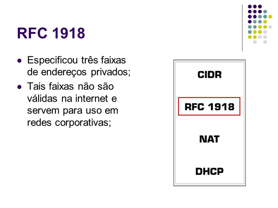 RFC 1918 Especificou três faixas de endereços privados; Tais faixas não são válidas na internet e servem para uso em redes corporativas;