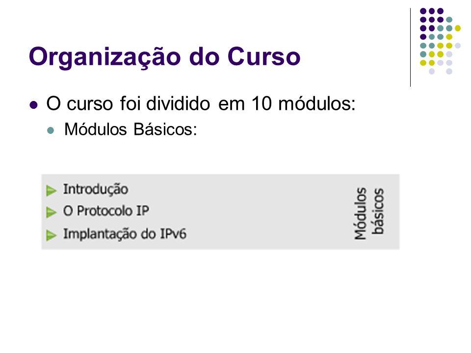 Organização do Curso O curso foi dividido em 10 módulos: Módulos Básicos: